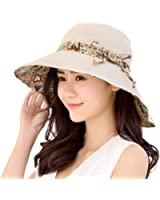 Womens Sun Hats Hindawi Summer Reversible UPF 50+ Beach Hat Foldable Wide Brim Cap