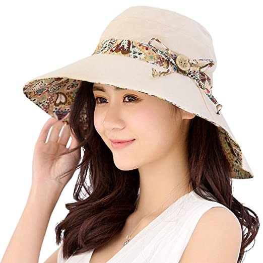 4a30ef5e2ad HINDAWI Womens Sun Hat Summer Reversible UPF 50+ Beach Hat Foldable Wide  Brim Cap