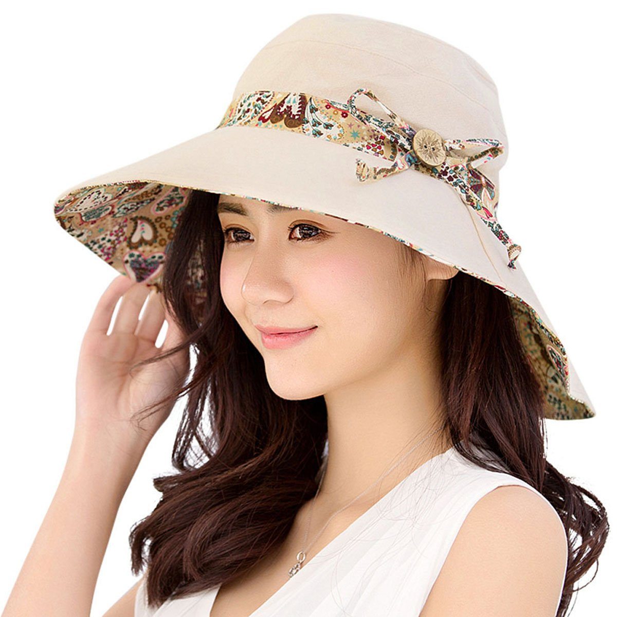 HindaWi Womens Sun Hat Summer Reversible UPF 50+ Beach Hat Foldable Wide Brim Cap, Beige