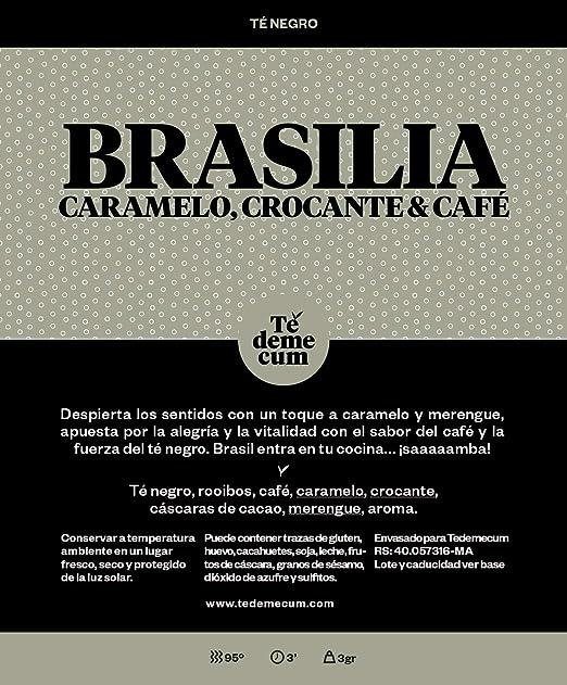 BRASILIA Gourmet 100gr. Té negro, rooibos, café, caramelo, crocante, cáscaras