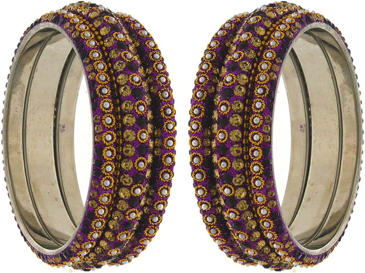 Anuradha Art Purple Finish Studded Shimmering Stone Classy Ethnic Bangles Set For Women//Girls