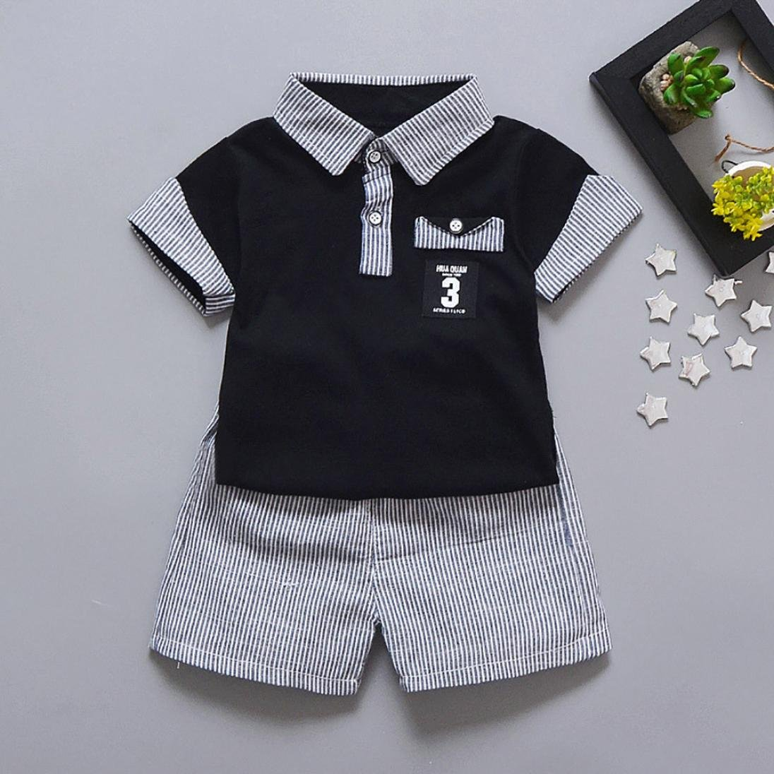 0.5-3 year 18-24 month, White Baby Boys Summer Clothes HEHEM 2PC Toddler Kids Baby Boy Letter Printed T shirt Tops+Striped Shorts Outfits