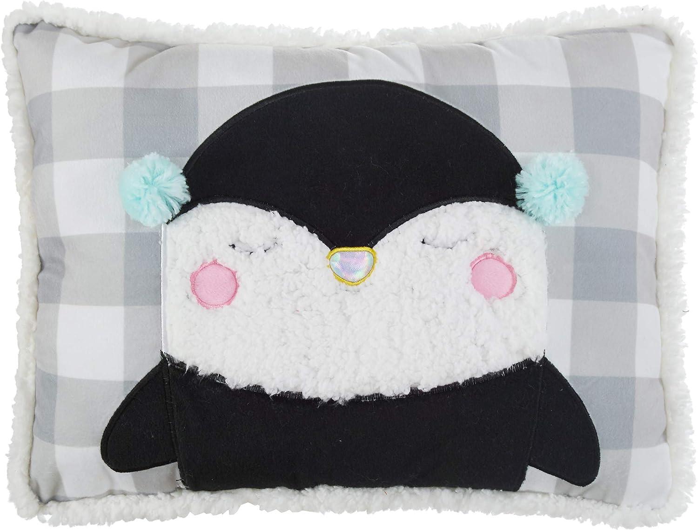 Hearts /& Stars Penguin Decorative Bed Pillow Grey