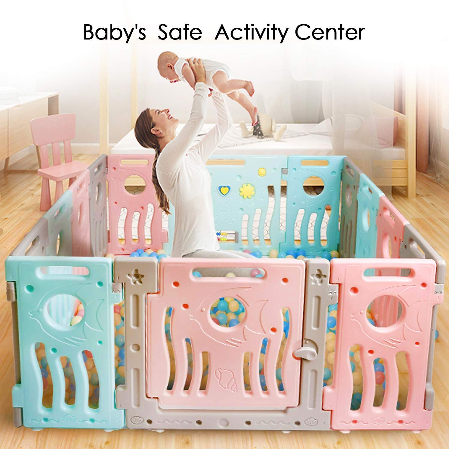 TUSY Baby Playpen Activity Center for Babies and New Style Kids Safety Play Yard Baby Fence with Multicolor 14 Panel and Activity Board
