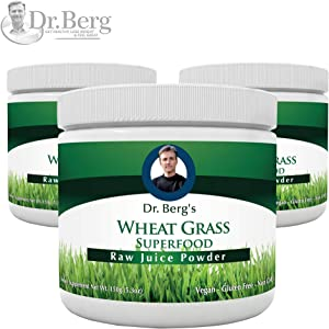 Dr. Berg's Wheat Grass Juice Organic Superfood Powder - Raw & Ultra-Concentrated Nutrients - Rich in Vitamins, Chlorophyll & Trace Minerals - 60 Servings - Gluten Free - Non GMO - 5.3 oz (3 Pack)