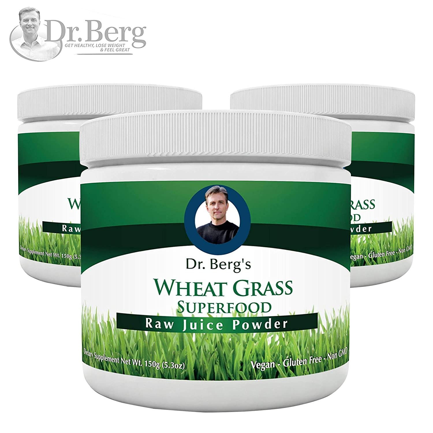 Dr. Berg s Wheat Grass Juice Organic Superfood Powder – Raw Ultra-Concentrated Nutrients – Rich in Vitamins, Chlorophyll Trace Minerals – 60 Servings – Gluten Free – Non GMO – 5.3 oz 3 Pack