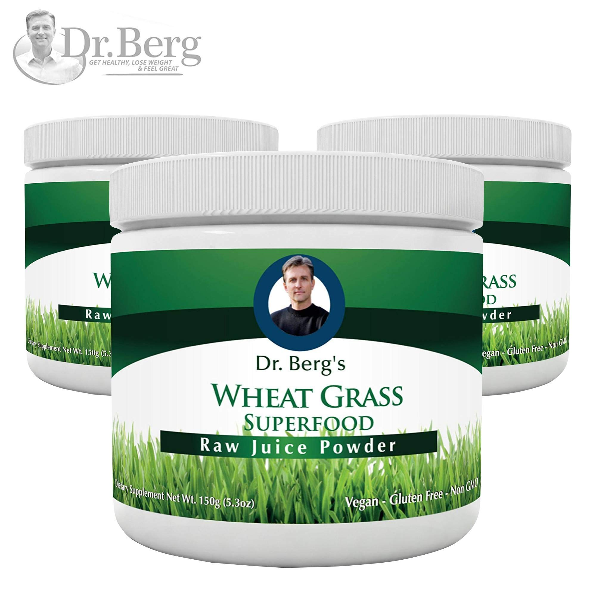Dr. Berg's Wheat Grass Juice Powder - Raw & Ultra-Concentrated Nutrients - Rich in Vitamins, Chlorophyll & Trace Minerals - 60 Servings - Gluten Free - Non-GMO - 5.3 oz (3 Pack)