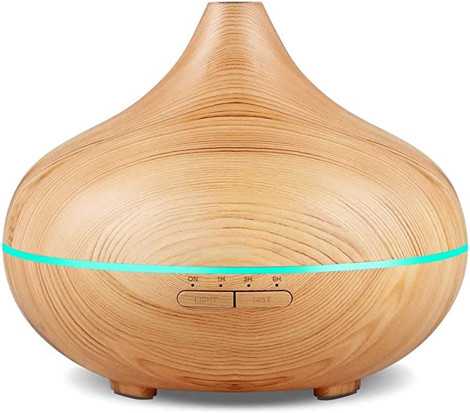 Tobeape® 500ml Aromatherapy Diffuser, Remote Control Cool Mist Humidifier Ultrasonic Aroma Essential Oil Diffuser for Office Home Bedroom Living Room Study Yoga Spa - Wood Grain, 7 Colors LED Light: Amazon.ae
