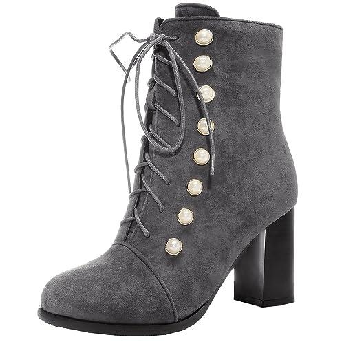 YE Femme Bottes Courtes Chaude Bottines à Lacets Femme Talons Hauts Bloc  Chunky Heels Winter Ankle Boots Shoes Hiver Amazon.fr Chaussures et Sacs