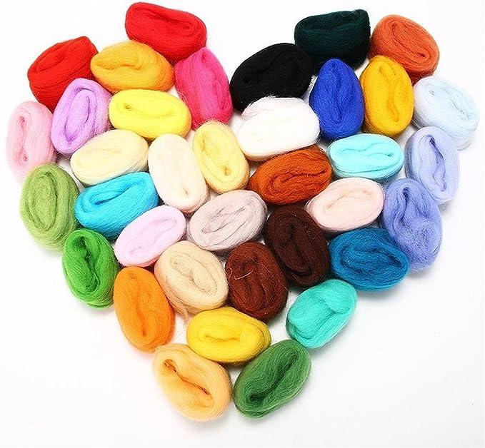 Juego de 36 colores de hilo de fibra de lana para fieltro de aguja ...