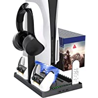 Vertical Stand with Headset Holder and Cooling Fan Base for PS5 Console & Playstation 5 Accessories, 1 Headphone Stand…