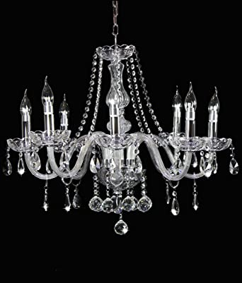 Dst clear marie therese 8 arms transparent geniune crystal glass dst clear marie therese 8 arms transparent geniune crystal glass chandelier light chrome finish crystal chandelier for study roomoffice dining room aloadofball Choice Image