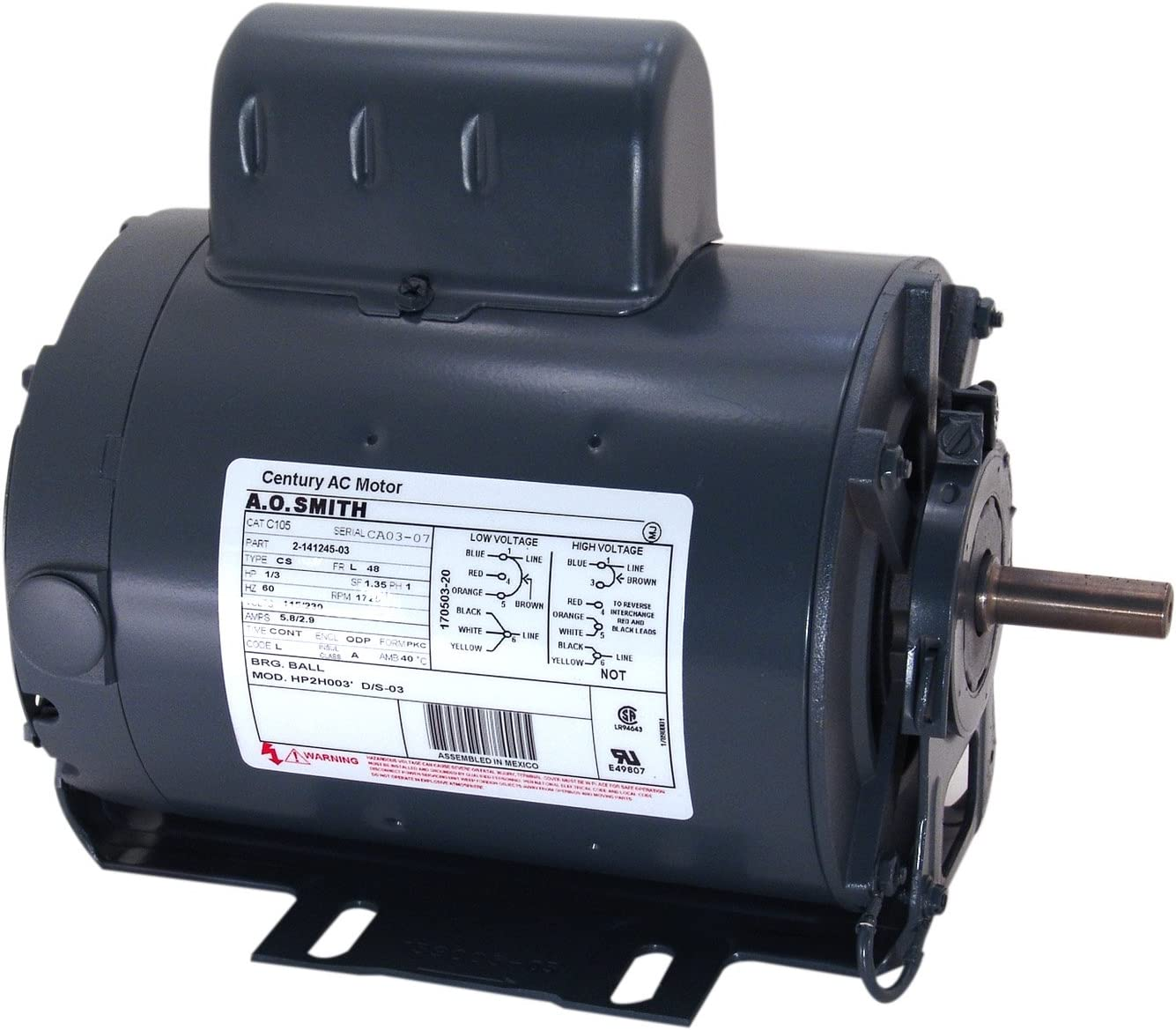 A.O. Smith C196L 1/4 HP, 1725 RPM, 115/230 Volts, 48 Frame, ODP Enclosure, Ball Bearing Capacitor Start Motor