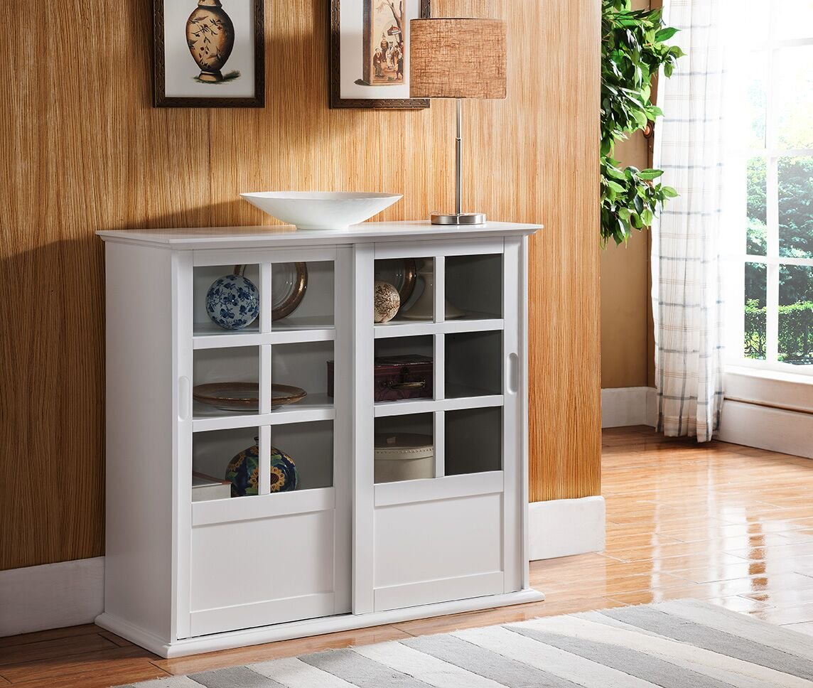 Kings Brand Furniture CU1440 Holmes White Wood Curio Cabinet with Glass Sliding Doors by Kings Brand Furniture