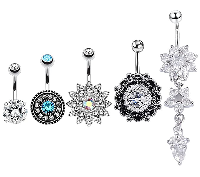Home Shop For Cheap Fashion Women Sunflower Navel Nail Bar Piercing Belly Rings Body Jewelry Elegant In Style