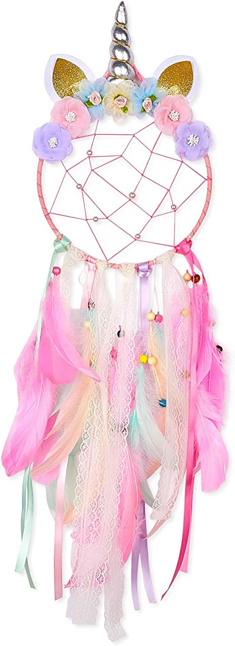 Girls Bedroom Decor Wall Hanging Decoration Blessing Gift Purple INONE Unicorn Dream Catchers for Girls Kids Colorful Feather and Flower Dream Catchers