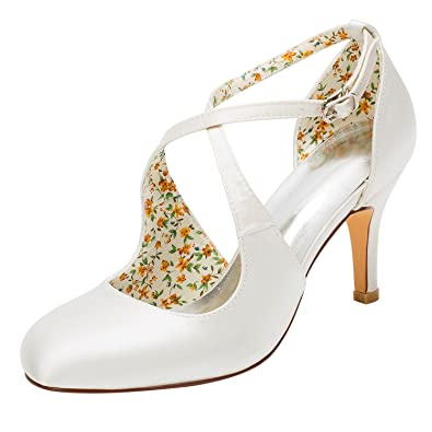 aa2c027dc Emily Bridal Wedding Shoes Vintage Wedding Shoes High Heel Pumps Ivory  Cross Front Ankle Strap Bridal Shoes: Amazon.co.uk: Shoes & Bags