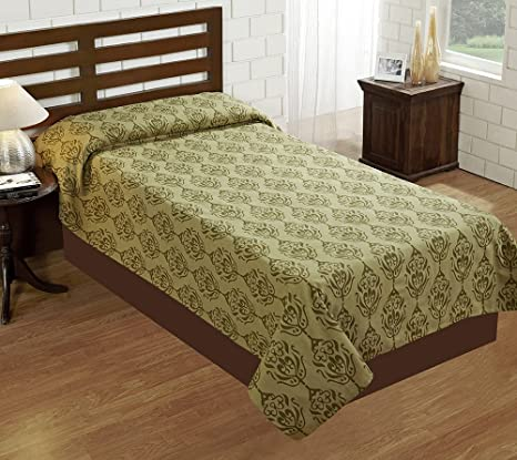 House This 100% Cotton Single Bedcover Tradition Green