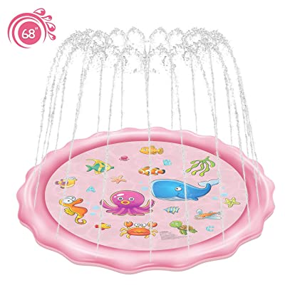 "Rexin Scisfuture Splash Play Mat 68"", Sprinkler for Kids,Outside Toys Girl Baby Pool Outdoor Backyard Toys for Toddlers Age 3-10 (2020 Upgrade Version ,Pink): Toys & Games"