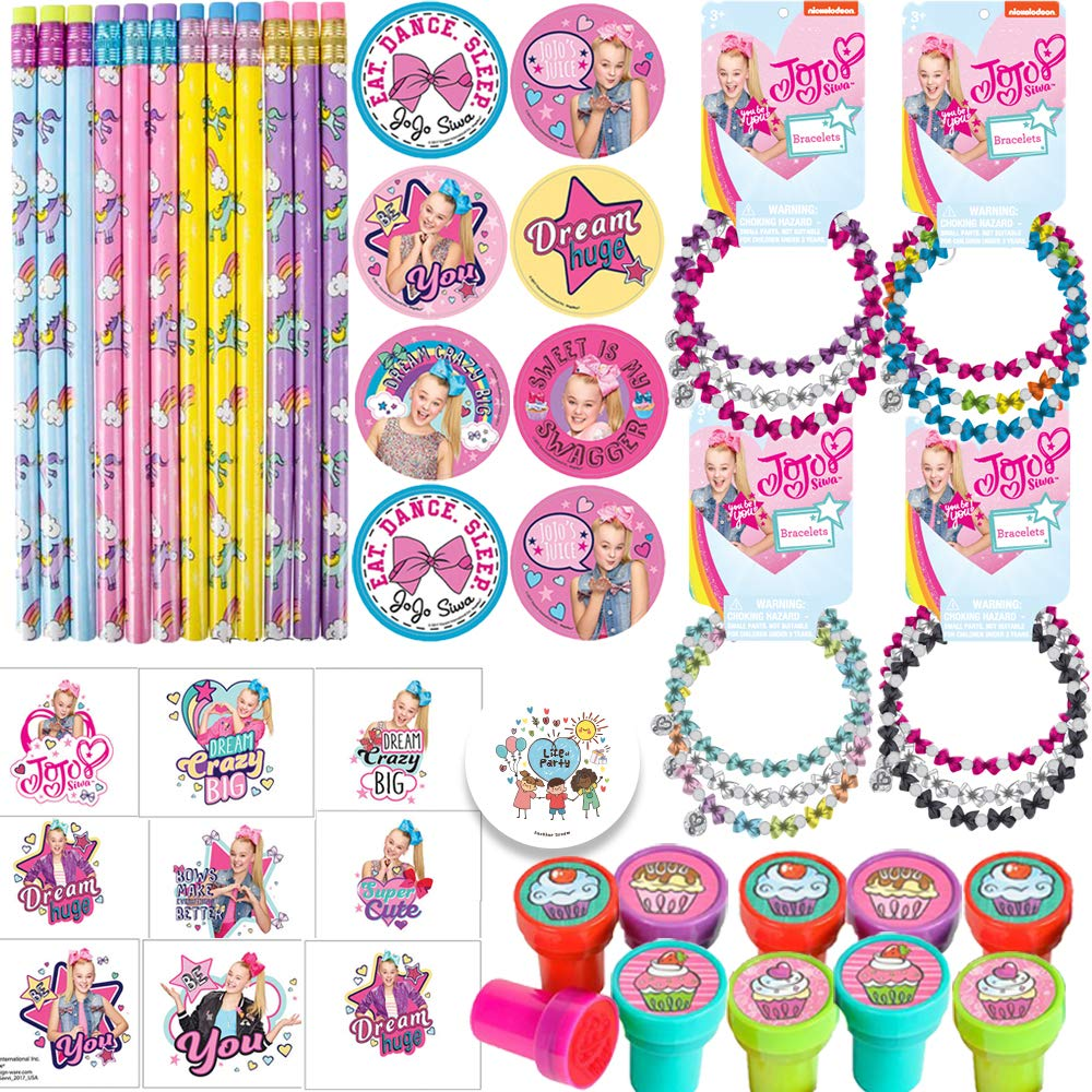 Jojo Siwa Birthday Party Favor Pack and Goodie Bag Fillers For 12 With Jojo Bracelets, Stickers, Tattoos, Unicorn Pencils, Cupcake Stampers, and Pin by Another Dream