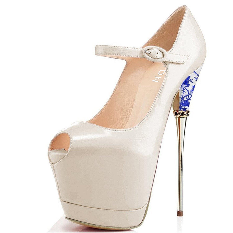 YDN Women Peep Toe Sky High Heels Platform Pumps Ankle Straps Shoes Metal Stilettos B06XKVCG3F 10 M US|Beige-pu