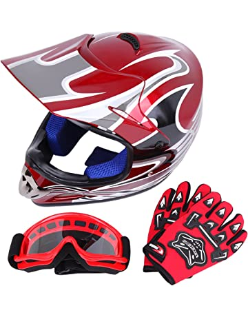 RAON Motocross Moto Casques de Moto et Gants /& Goggles Certification D T Enfants Quad Bike ATV Go Karting Casque O