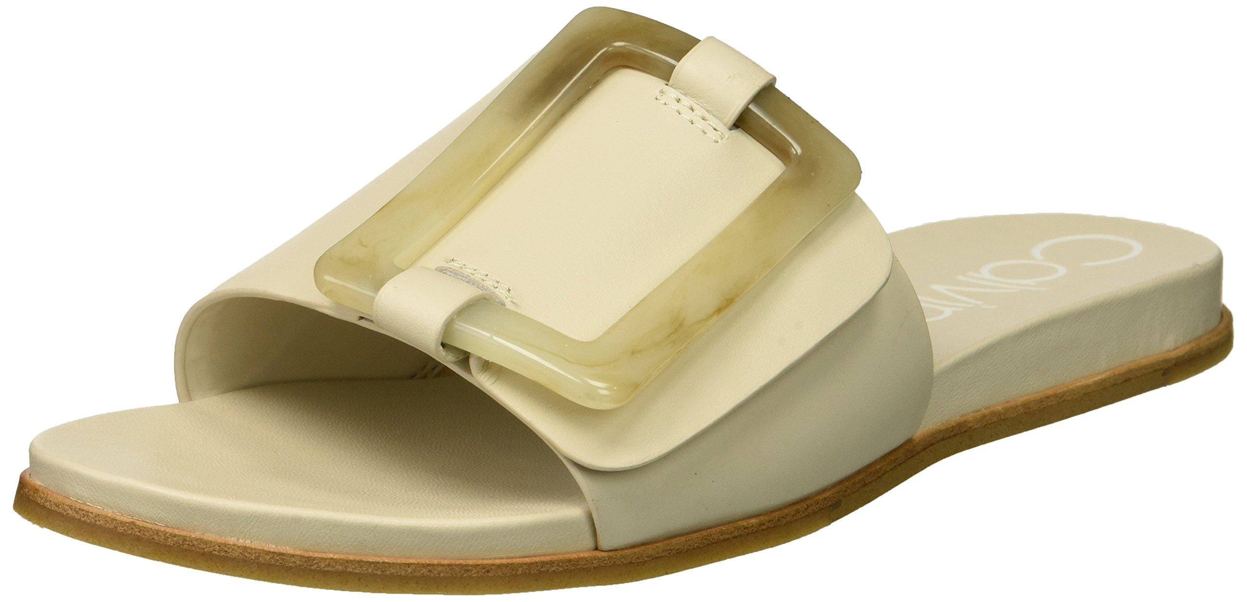 Calvin Klein Women's Patreece Slide Sandal, Soft White, 7.5 Medium US