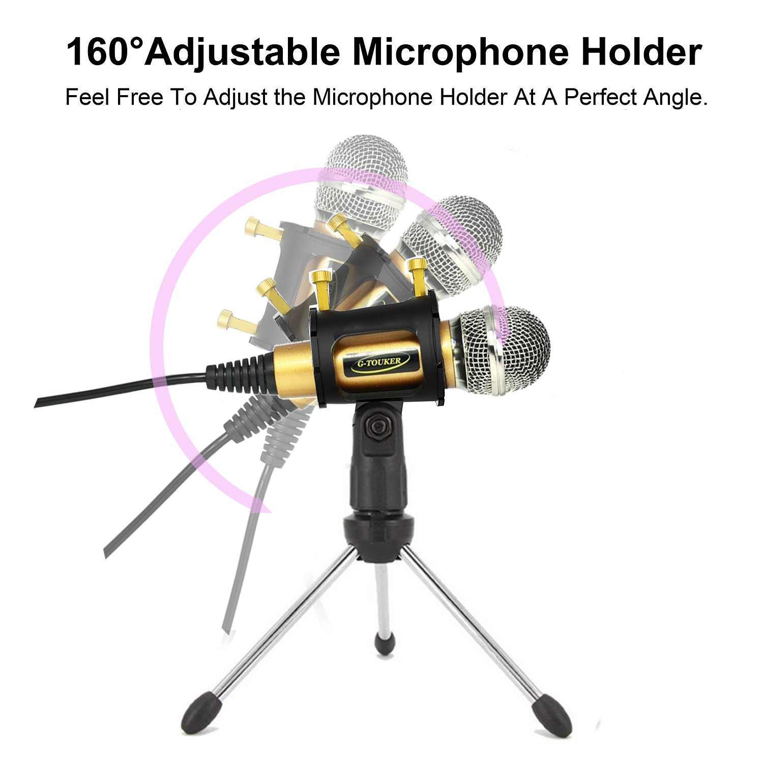 Professional Recroding Studio Microphone, 3.5mm microphone with stand, microphone for iphone andrioid mobile phone,ipads,tablet,pc,laptop computer. mic recording music, video, gaming, vocals (MC6G) by TKGOU (Image #3)