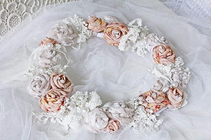 Blutenkranz Altrose Und Creme Unikat Handmade Blumenkranz Turkranz