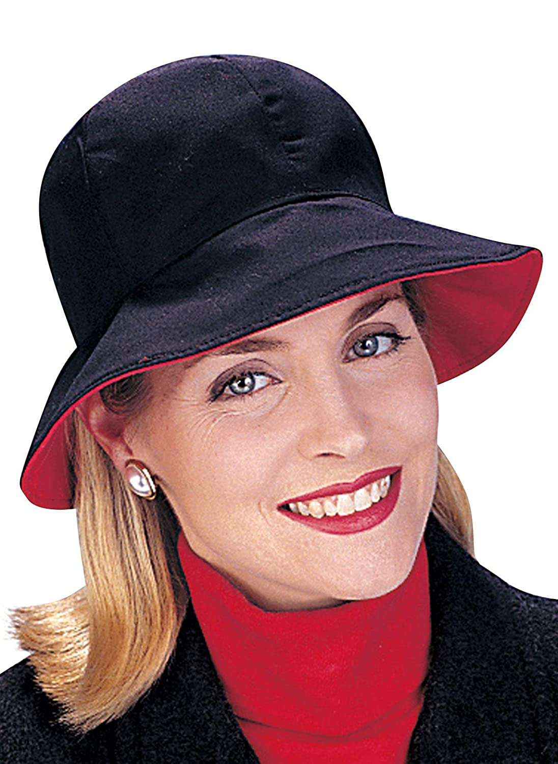 Carol Wright Gifts Reversible Rain Hat, Black/Red, One Size Fits All 10073781