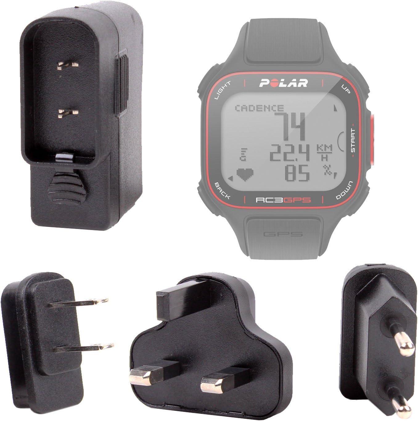 DURAGADGET Cargador De Viaje para Reloj Polar RC3 GPS Bike - con Adaptadores para Reino Unido, EU Y EEUU