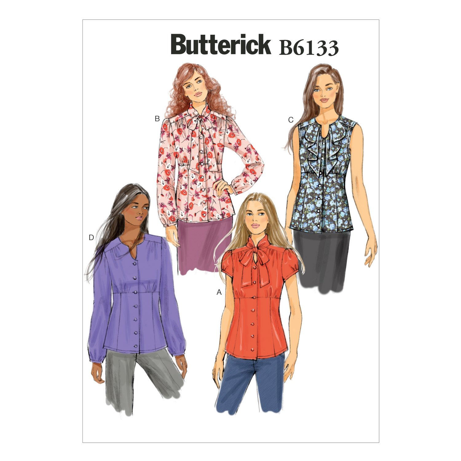 Butterick Patterns B6133 Misses' Blouse Sewing Template, Size A5 (6-8-10-12-14) McCall Pattern Company B6133A50