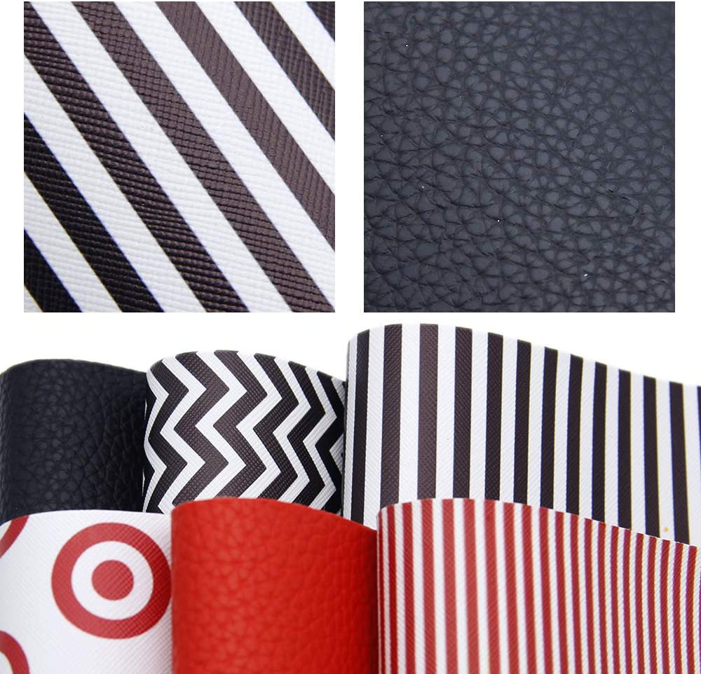 "David accessories 6 Pcs 8"" x 13"" (20 cm x 34 cm) Litchi Pattern Chevron Striped Printed Faux Leather Fabric Sheets Include 2 Kinds of Leather Fabric for DIY Bows Earrings Making Crafts (Geometry)"