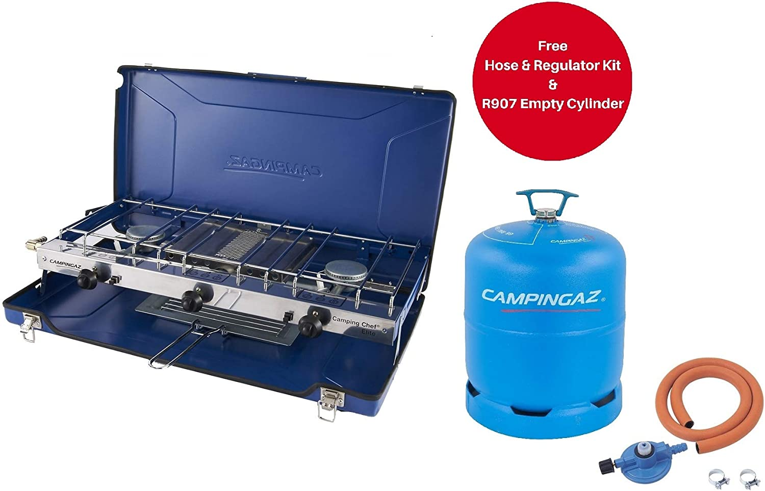 Campingaz Chef Folding Double Burner and Grill Blue + Free Hose &