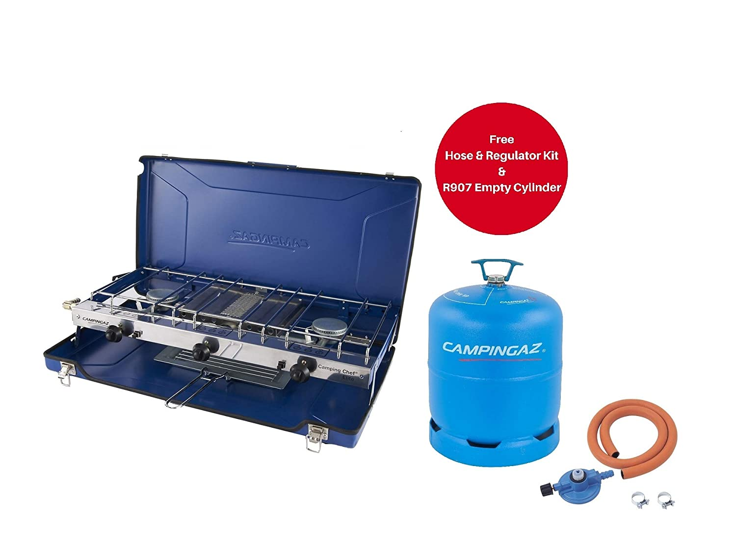 Free Campingaz Hose /& Regulator Kit and R907 Empty Cylinder Trackpack Limited Campingaz Chef Folding Double Burner and Grill Blue