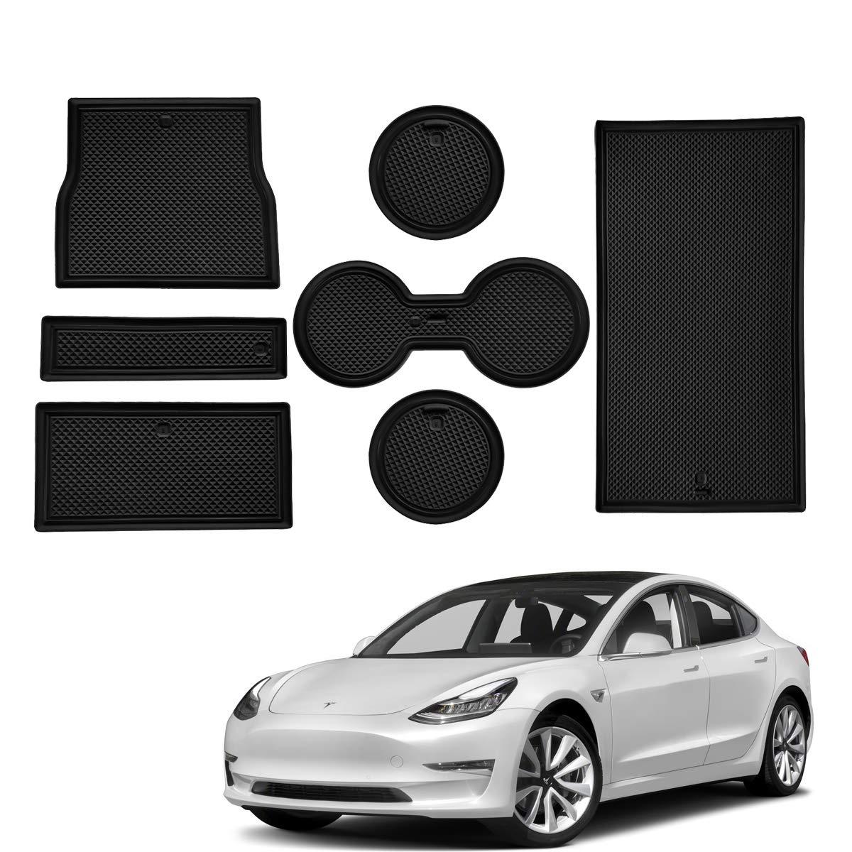 Center Console Cup Holder Interior Liner Anti-Slip Liner Mats for Tesla 2017 2018 2019 Model 3 Door Mats Accessories Intget White Glow in Dark