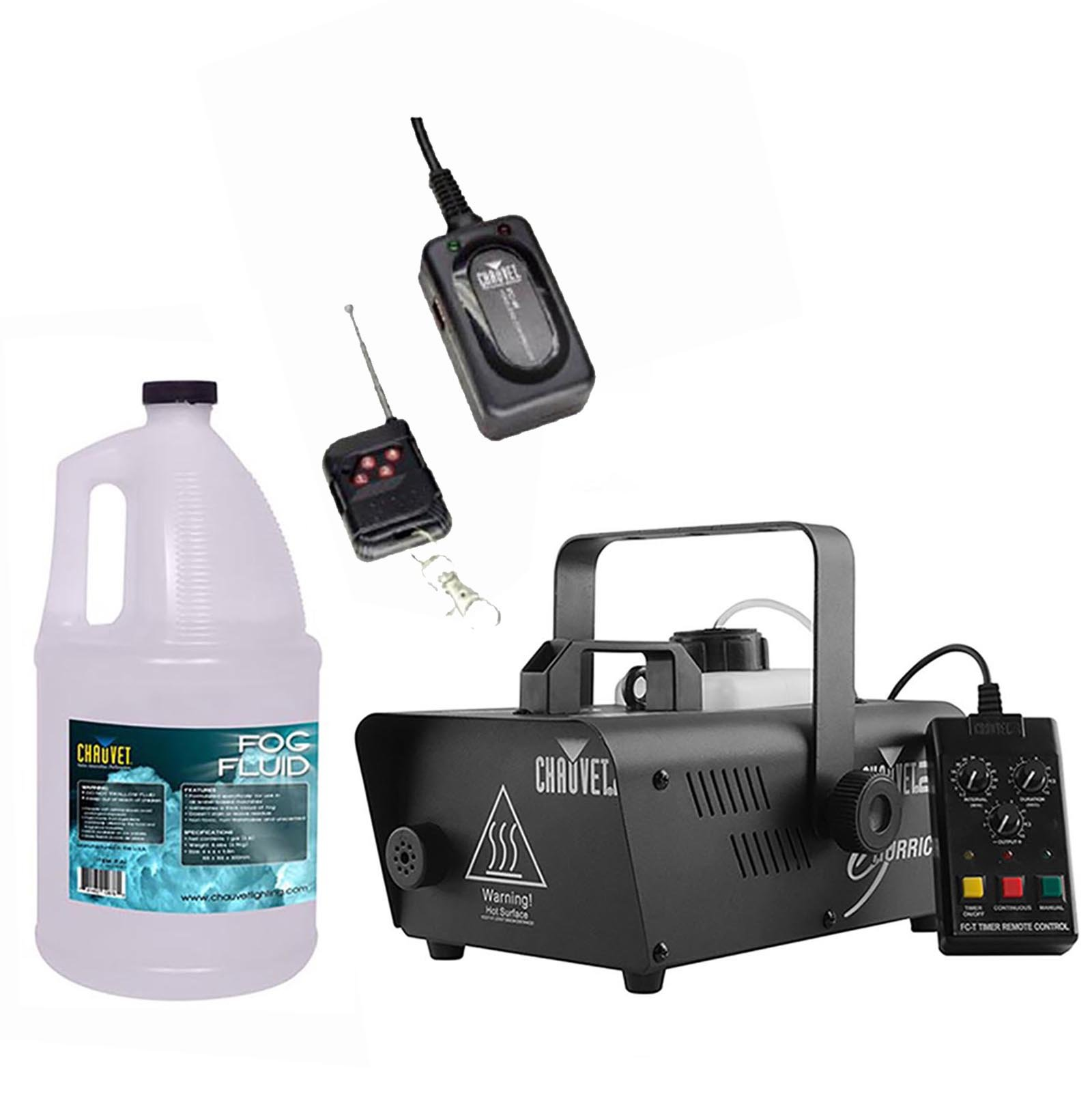 CHAUVET Hurricane H1200 Fog/Smoke Machine + FC-W Wireless Remote + FJU Fog Fluid