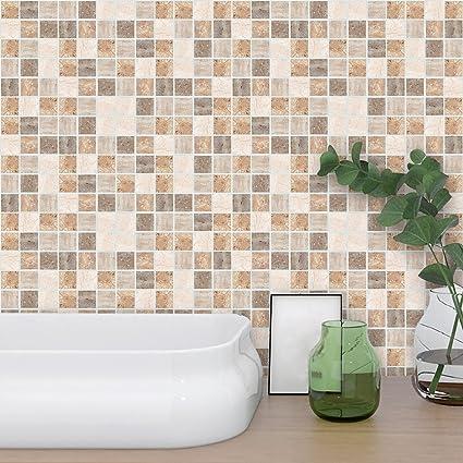 Amazon ChezMax 48 PC Set Tile Stickers PVC Waterproof Removable Enchanting Beige Tiled Bathrooms Set
