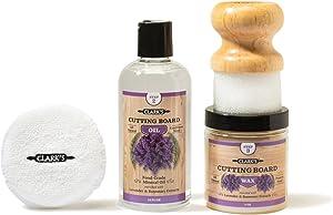 CLARK'S Cutting Board Finishing Kit | Lavender - Rosemary Scent | CLARK'S Cutting Board Oil (12 oz) - Cutting Board Wax (6oz) - Small Applicator - Buffing Pad
