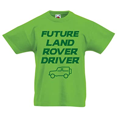 InfiniteTee Kids Future Land Rover Driver T-Shirt - Funny Baby 4x4 Birthday Christmas Gift Lime Green: Amazon.co.uk: Clothing