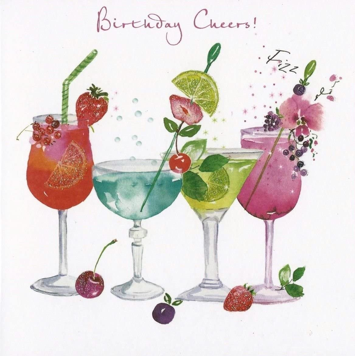 Greeting Card Nq0263 Female Birthday Cocktails Birthday Cheers Flittered Finish Amazon Co Uk Office Products