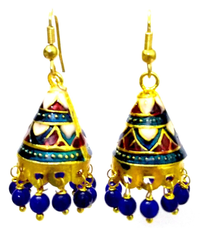 DESI HAWKER Meenakari Minakari Enamel Paint Golden Handmade Earring Bali Jhumki Jhumka Jewelry Bollywood Indian Ethnic Drop Dangle Chandelier NI-212