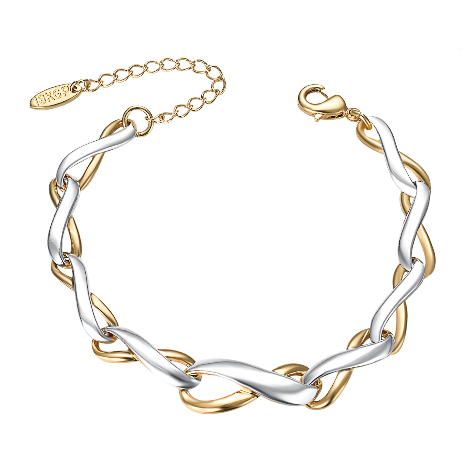 Yoursfs Infinity Link Bracelet Two-Tone Gold Plated Infinity Tennis Link Bracelet for Women