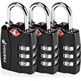 Fosmon Bike Locks or Other 51063HOM Suit Case Gym 3 Digit Combination Padlock Codes with Alloy Body for Travel Bag 3 Pack TSA Approved Luggage Locks Lockers