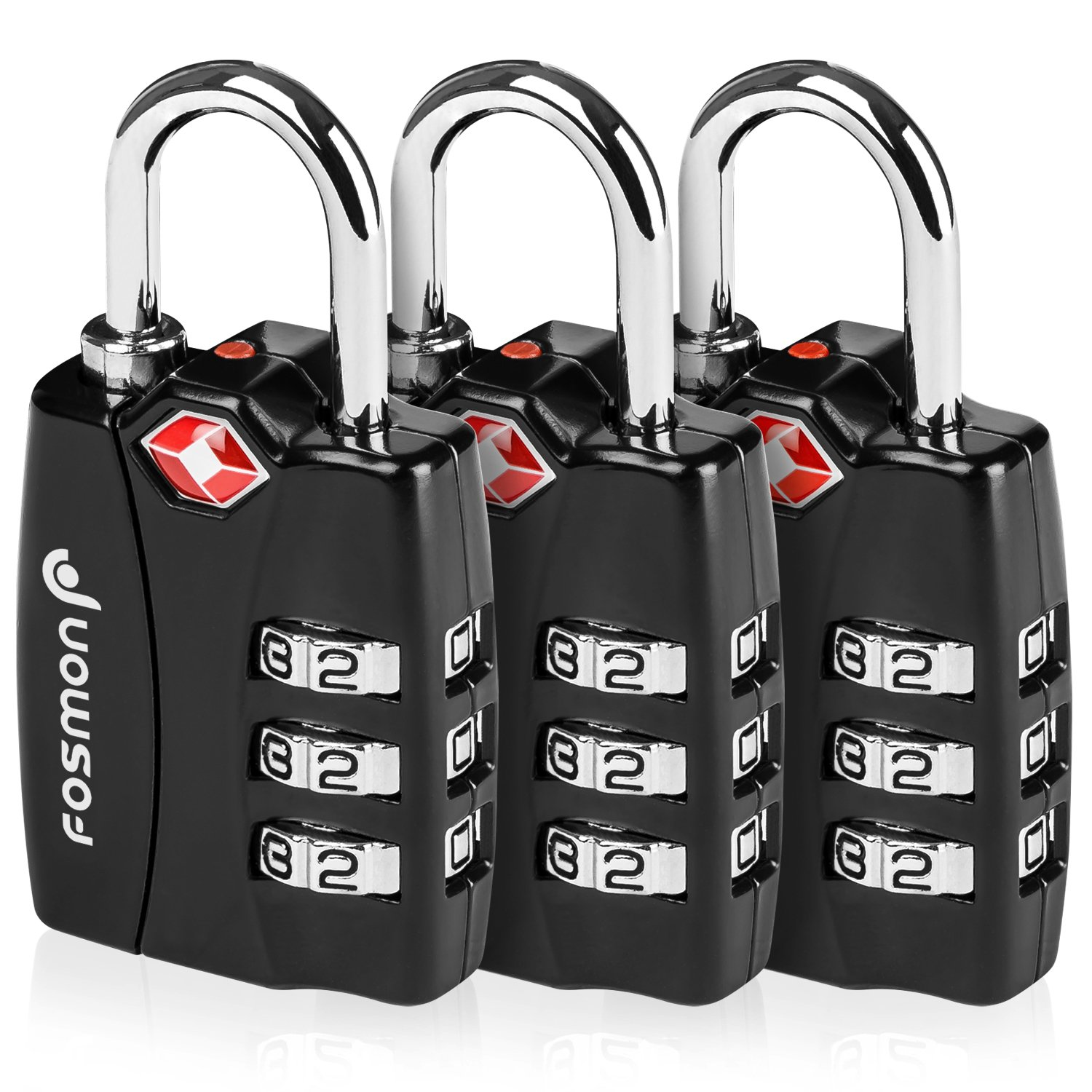 TSA Approved Luggage Locks, Fosmon (3 Pack) Open Alert Indicator 3 Digit Combination Padlock Codes with Alloy Body for Travel Bag, Suit Case, Lockers, Gym, Bike Locks or Other by Fosmon