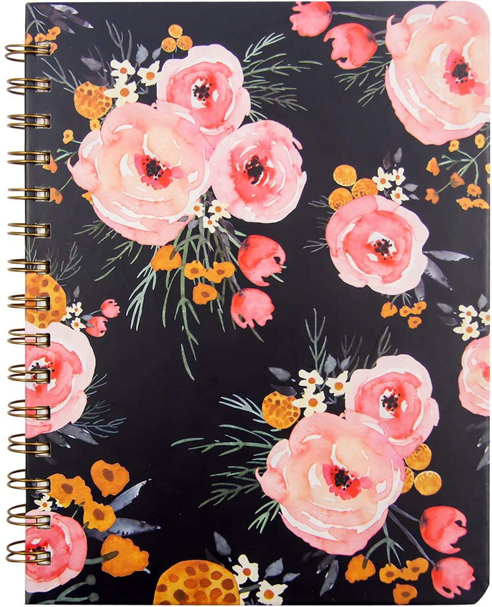 "Floral Spiral Notebook 8.25"" x 6.25"" with Pocket Hardcover 160 Lined Pages Women Girl Office School Home"