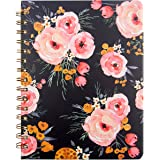 "Floral Spiral Notebook 8.25"" x 6.25"" with Pocket Hardcover Journal 160 Lined Pages Women Girl Office School Home"