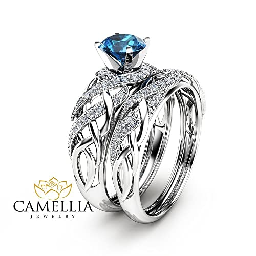 Amazon Com London Blue Topaz Bridal Set In 14k White Gold Unique