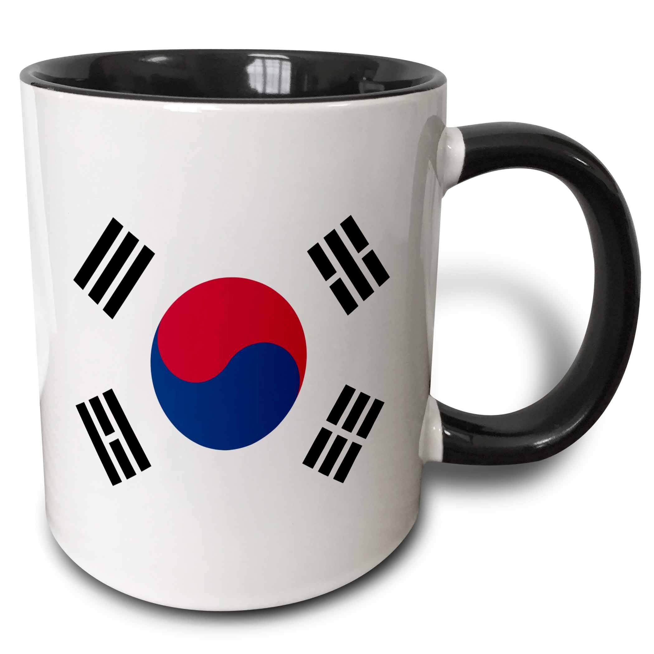 3dRose (mug_158435_4) Flag of South Korea - Korean white red blue taegeuk circle black trigrams - Taiji Yinyang Taegeukgi - Two Tone Black Mug, 11oz