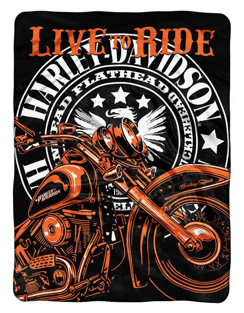 Harley - Davidson Live to Ride Raschel Throw Blanket、60 x 80インチnw712140 B01MZY22JA